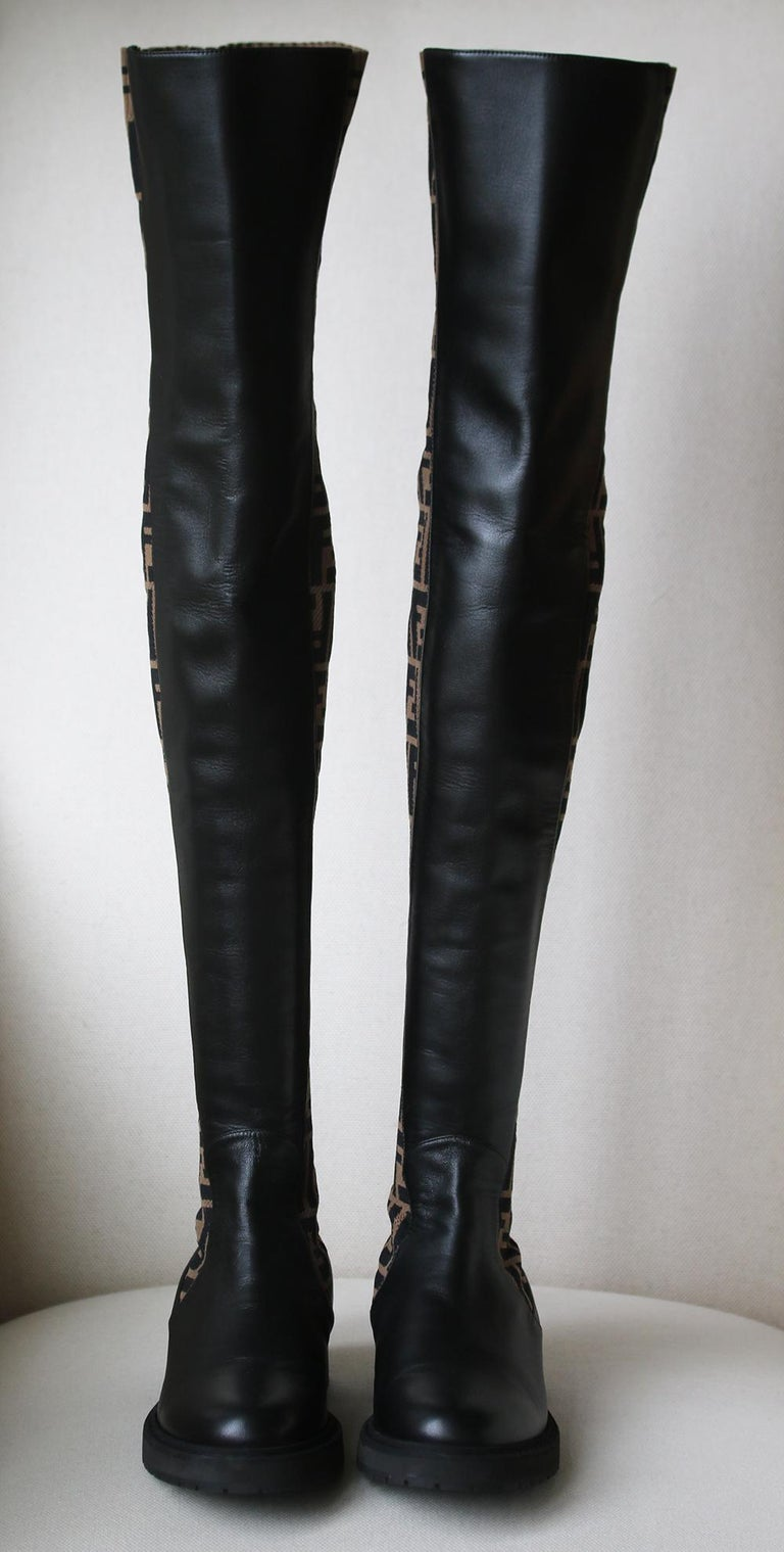 c69dd2d3 Fendi Logo Stretch-Knit and Leather Over-The-Knee Boots