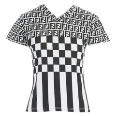 FENDI MAGLIA Zucca FF monogram black white checker print t-shirt top S