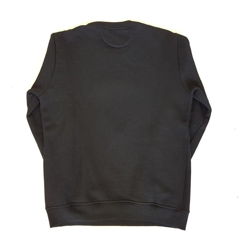 Beautiful and funny men's sweater by Fendi Wool Round neck Black color Central leather