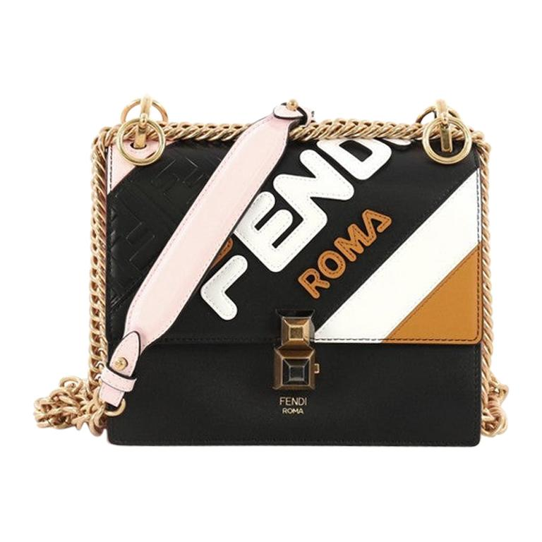 207322922 Fendi Mania Kan I Bag Inlaid Leather Small For Sale at 1stdibs