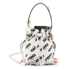 Fendi Mania Logo Mon Tresor Bucket Bag Printed Leather with Beaded Fringe