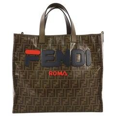 Fendi Mania Logo Shopper Tote Zucca Coated Canvas Large