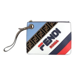 Fendi Mania Logo Zip Pouch Inlaid Leather Small
