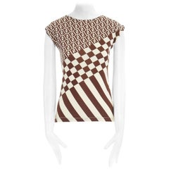 FENDI MARE Zucca FF monogram cream brown checker print sleeveless vest top S