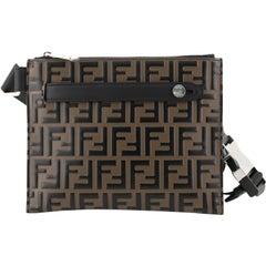 Fendi Messenger Bag Logo Embossed Leather