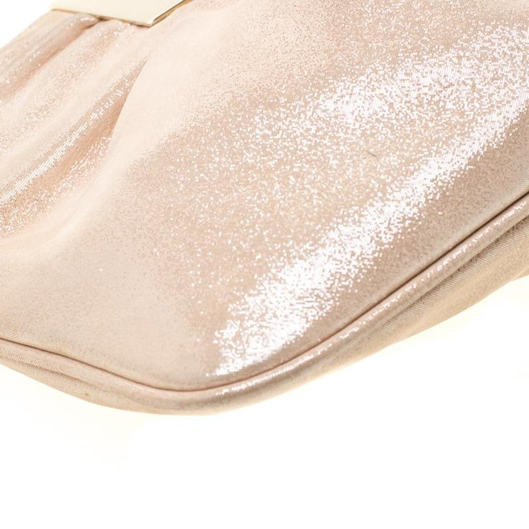 Fendi Metallic Beige Leather Cutout Handle Clutch For Sale 6