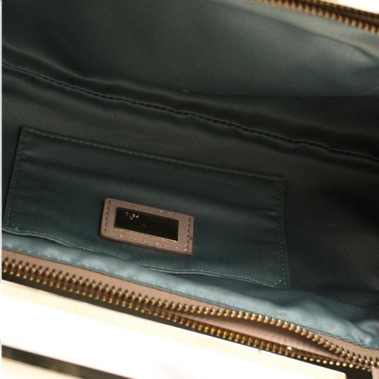 Fendi Metallic Beige Leather Cutout Handle Clutch For Sale 7