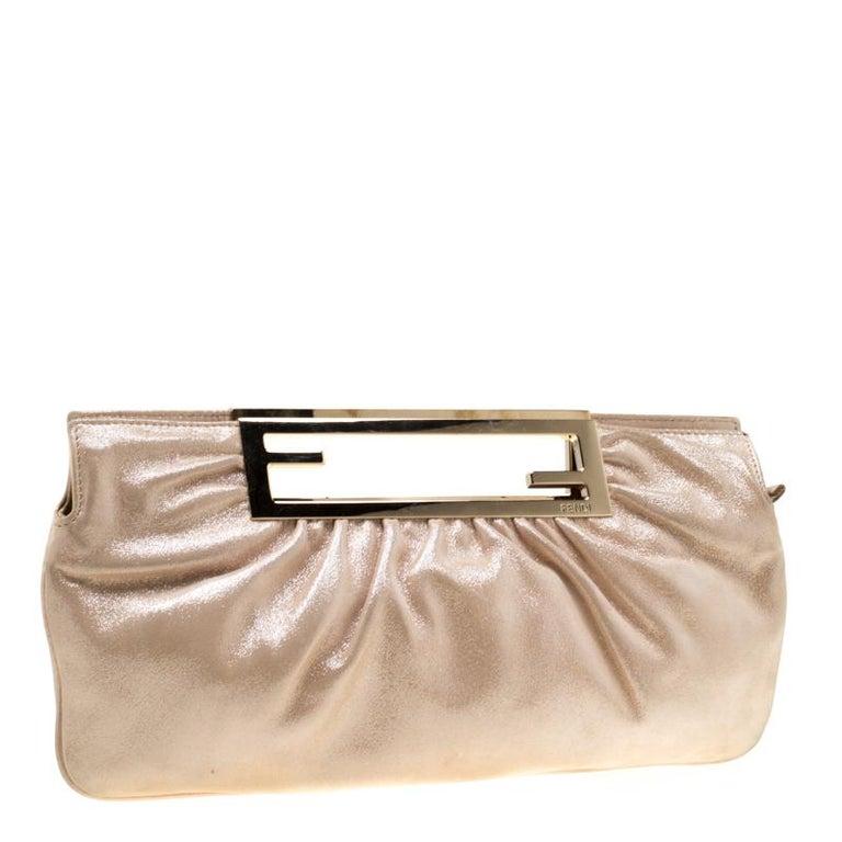 Women's Fendi Metallic Beige Leather Cutout Handle Clutch For Sale