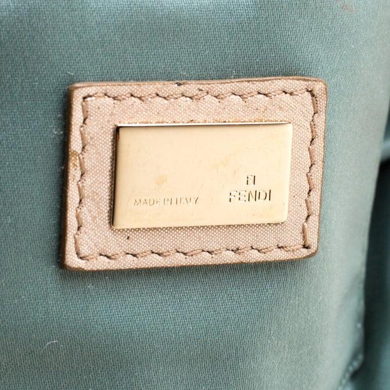 Fendi Metallic Beige Leather Cutout Handle Clutch For Sale 3