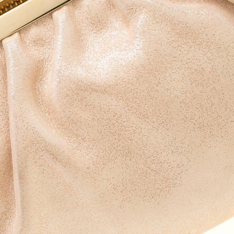 Fendi Metallic Beige Leather Cutout Handle Clutch For Sale 4