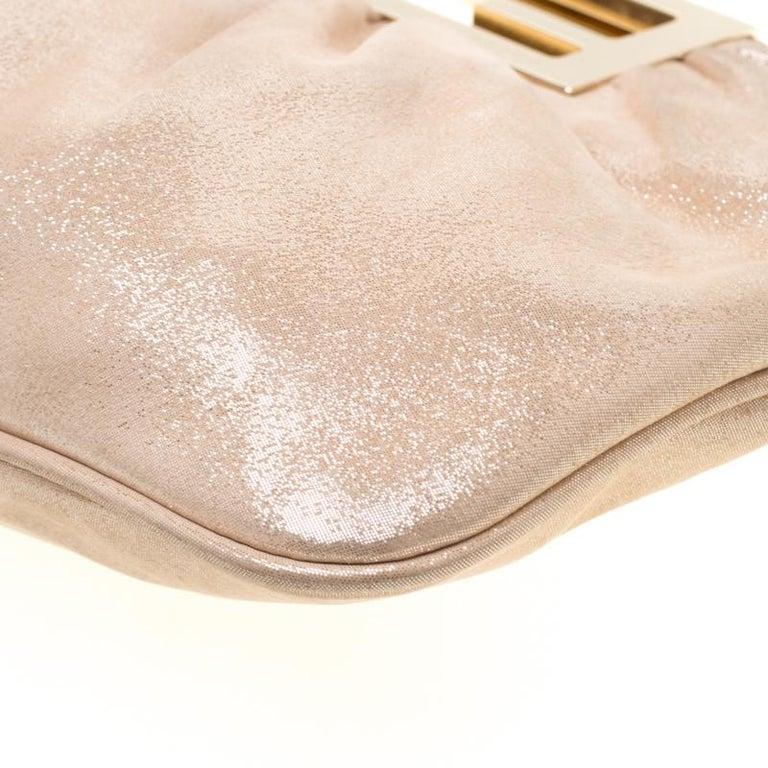 Fendi Metallic Beige Leather Cutout Handle Clutch For Sale 5