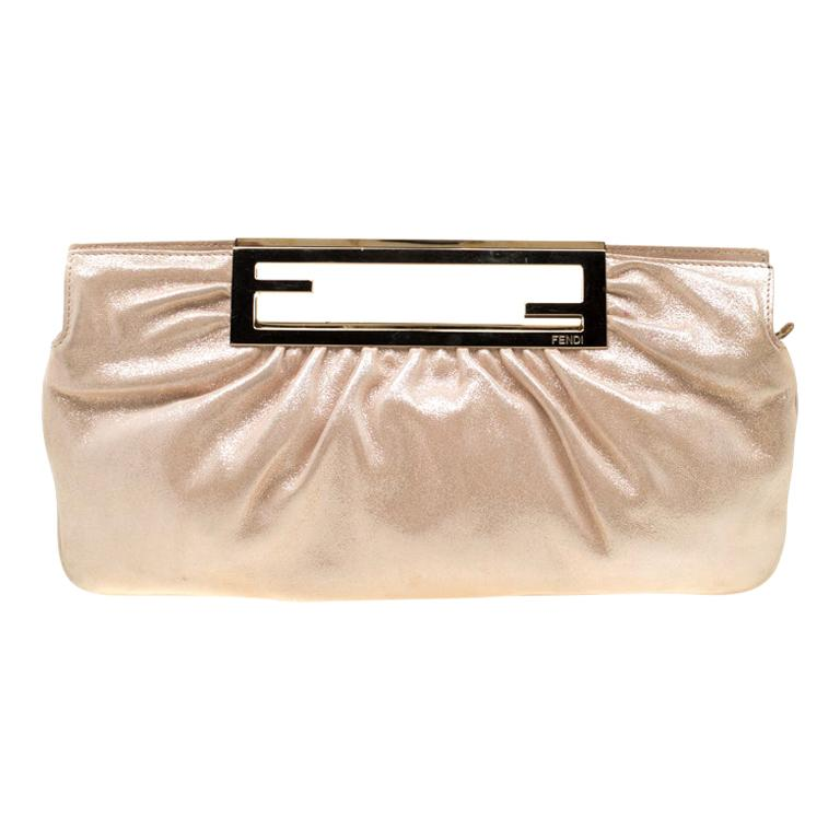 Fendi Metallic Beige Leather Cutout Handle Clutch For Sale