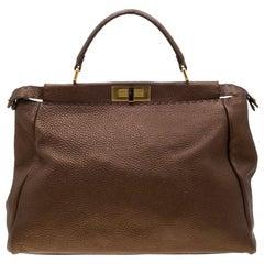 Fendi Metallic Brown Leather Large Selleria Peekaboo Tote
