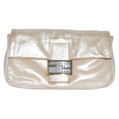 Fendi Metallic Gold Embellished Clutch