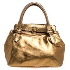Fendi Metallic Gold Leather Selleria Villa Borghese Satchel