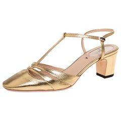Fendi Metallic Gold Leather T Strap Block Heel Sandals Size 36