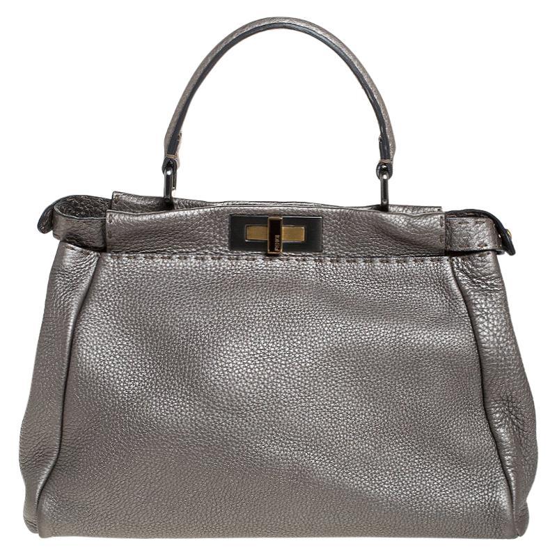 Fendi Metallic Grey Selleria Leather Medium Peekaboo Top Handle Bag