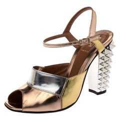 Fendi Metallic Multicolor Leather Polifonia Ankle Strap Sandals Size 37