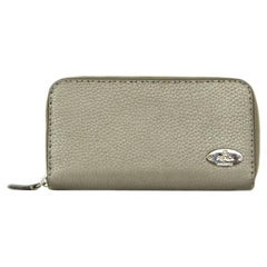 Fendi Metallic Selleria Leather Zip Around Wallet