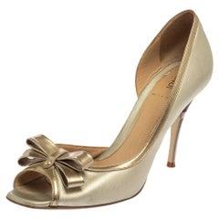 Fendi Metallic Silver Leather Bow Peep Toe Pumps Size 38.5