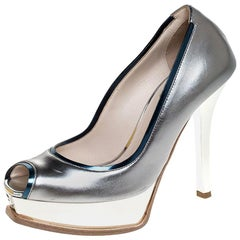 Fendi Metallic Silver Leather Fendista Peep Toe Platform Pumps Size 35