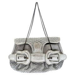 Fendi Metallic Silver Leather Mini B Evening Clutch
