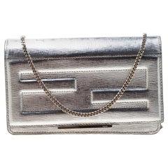 Fendi Metallic Silver Leather Tube Wallet On Chain
