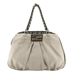 Fendi Mia Tote Canvas with Snakeskin Large