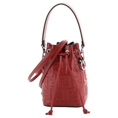 Fendi Mon Tresor Bucket Bag Zucca Embossed Leather Mini