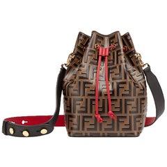 Fendi Mon Trésor Embossed Leather Bucket Bag