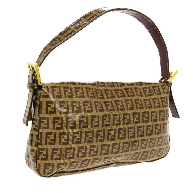 Fendi Monogram Brown PVC Gold Logo Small Top Handle Shoulder Pochette Flap Bag In Good Condition For Sale In Chicago, IL