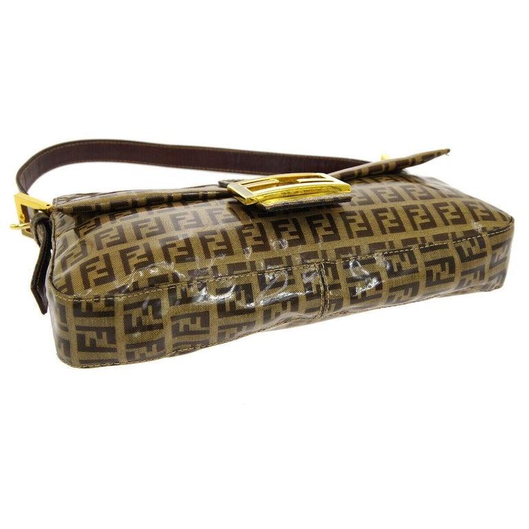 Women's Fendi Monogram Brown PVC Gold Logo Small Top Handle Shoulder Pochette Flap Bag For Sale