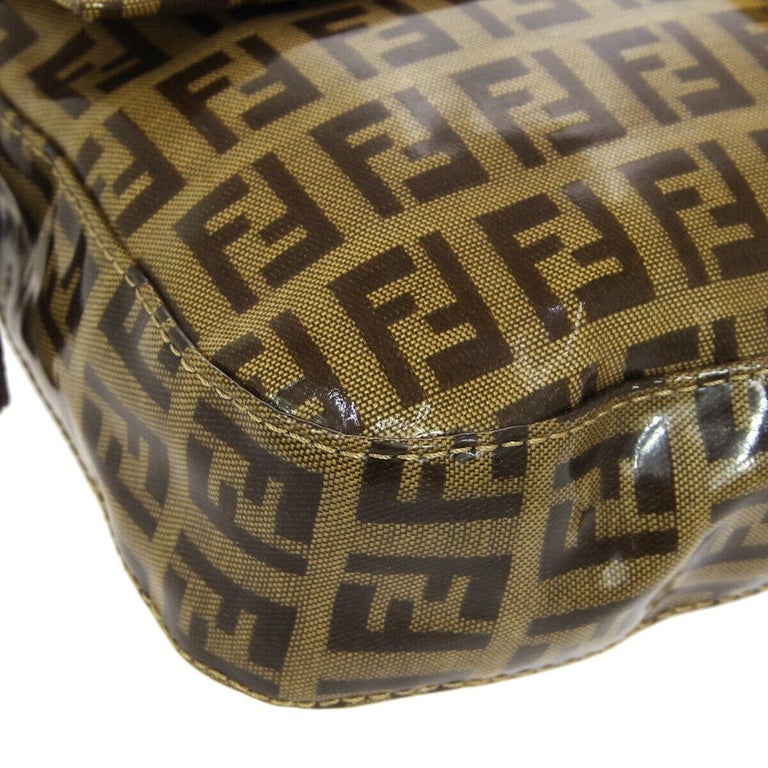 Fendi Monogram Brown PVC Gold Logo Small Top Handle Shoulder Pochette Flap Bag For Sale 1