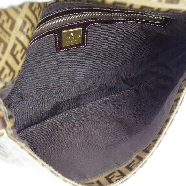 Fendi Monogram Brown PVC Gold Logo Small Top Handle Shoulder Pochette Flap Bag For Sale 2