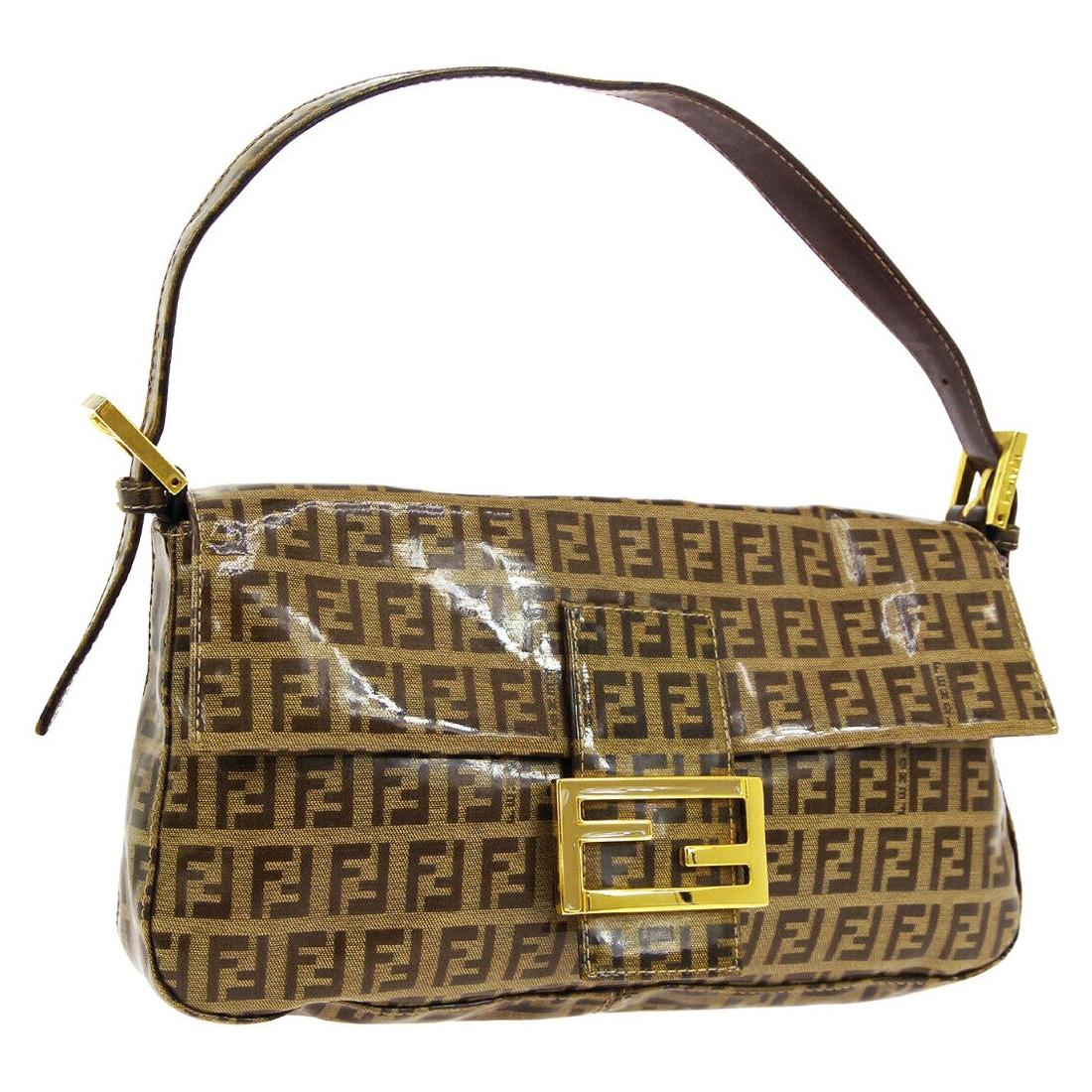 Fendi Monogram Brown PVC Gold Logo Small Top Handle Shoulder Pochette Flap Bag