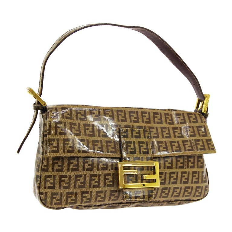 Fendi Monogram Brown PVC Gold Logo Small Top Handle Shoulder Pochette Flap Bag For Sale