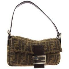 Fendi Monogram Brown Silver Wool Small Top Handle Shoulder Pochette Flap Bag