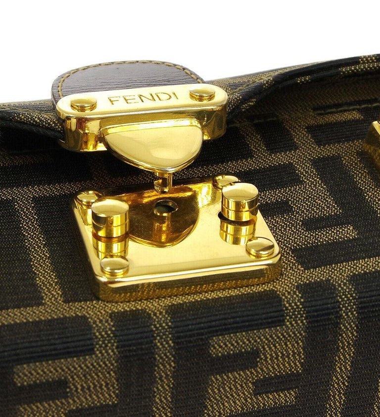 24df203e249e Fendi Monogram Canvas Box 2 in 1 Small Mini Top Handle Satchel Evening Shoulder  Bag Canvas