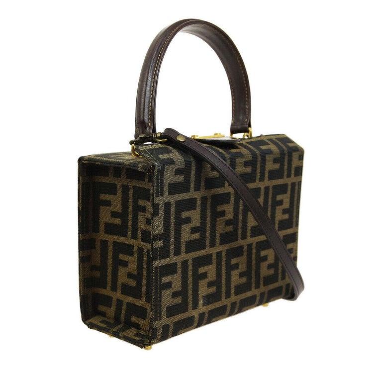 5f8e22e0b622 Black Fendi Monogram Canvas Box 2 in 1 Small Mini Top Handle Satchel  Shoulder Bag For