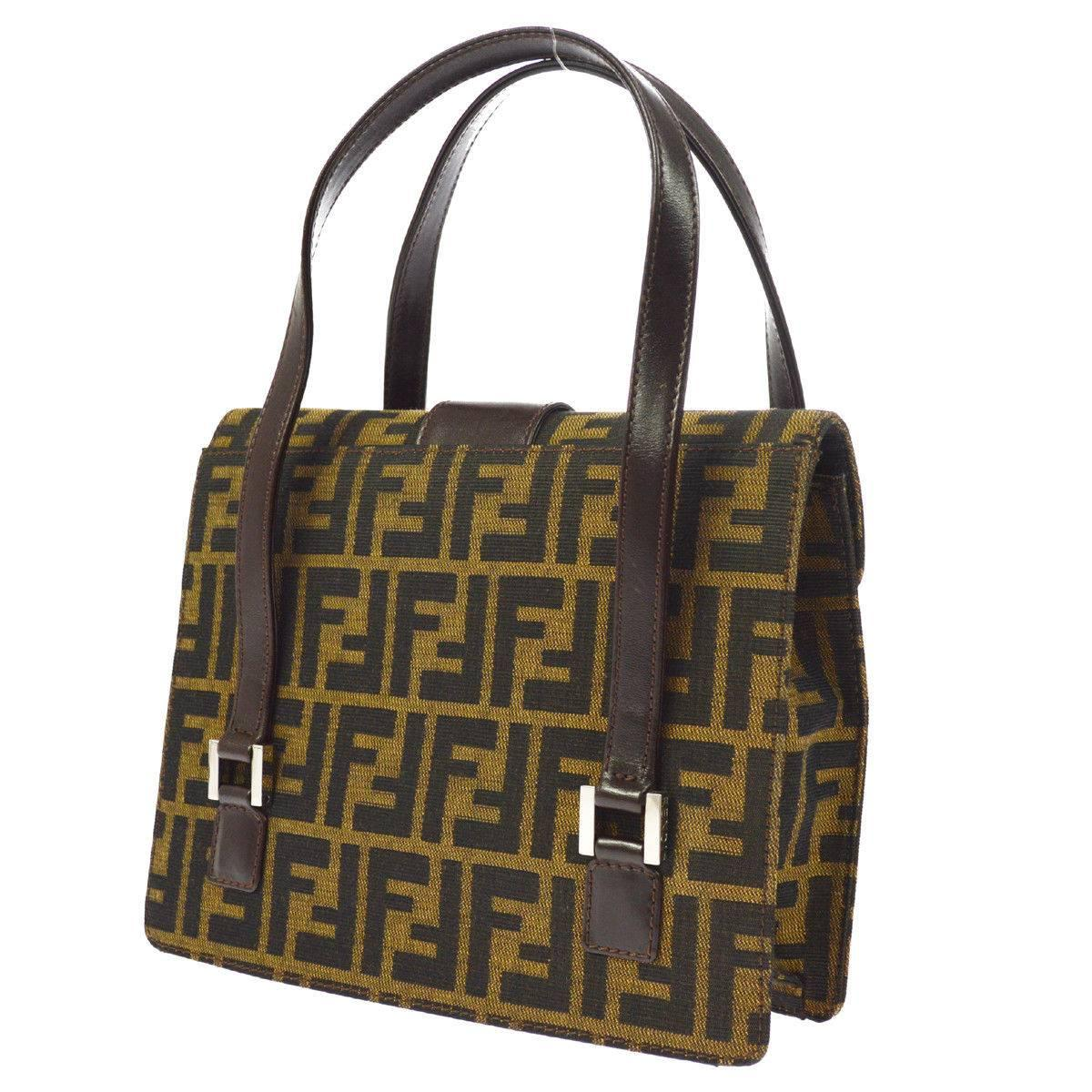 Fendi Monogram Canvas Logo Leather Buckle Kelly Style Top Handle Satchel Bag