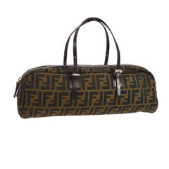 Fendi Monogram Canvas Logo Leather Round Evening Top Handle Satchel Bag