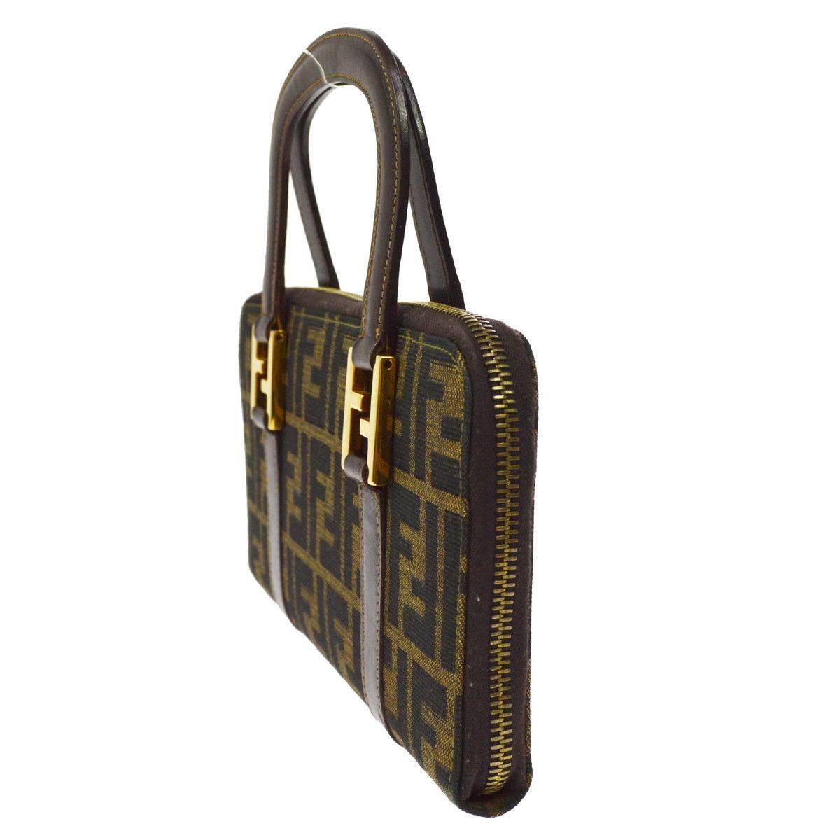 Fendi Monogram Canvas Logo Leather Round Evening Top Handle Satchel Bag NGbyCPAlO