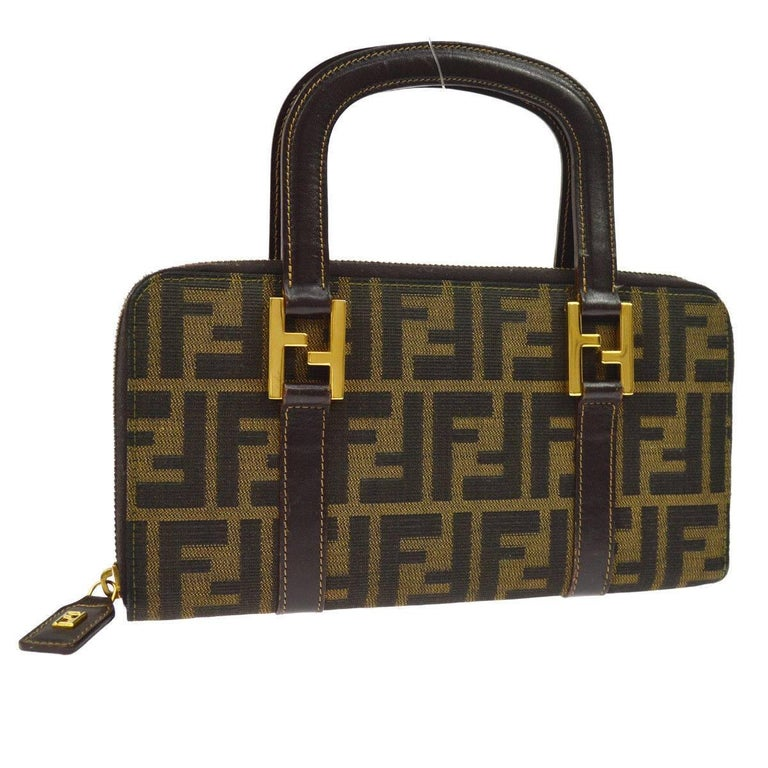 Fendi Monogram Canvas Logo Leather Small Top Handle Satchel Bag