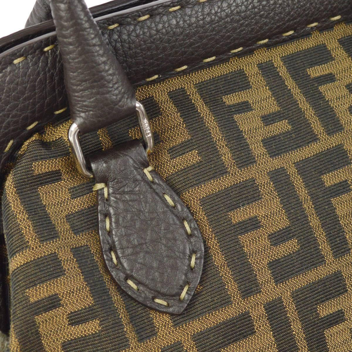 Fendi Monogram Canvas Logo Leather Whipstitch Doctor Top Handle Satchel Bag
