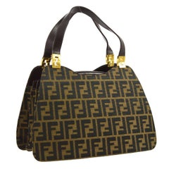 Fendi Monogram Canvas Logo Top Handle Satchel Evening Bag