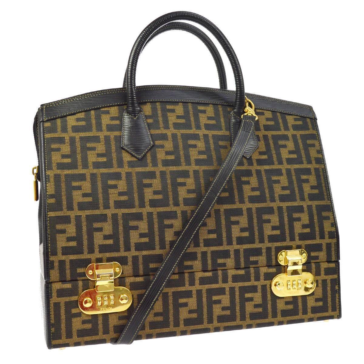 Fendi Monogram Canvas Travel Storage Vanity Jewelry Top Handle Satchel Bag h0RJeJz