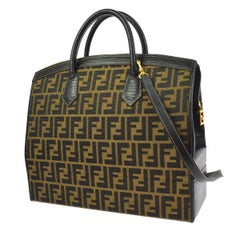 Fendi Monogram Canvas Top Handle Satchel Travel Vanity Carryall Shoulder Bag