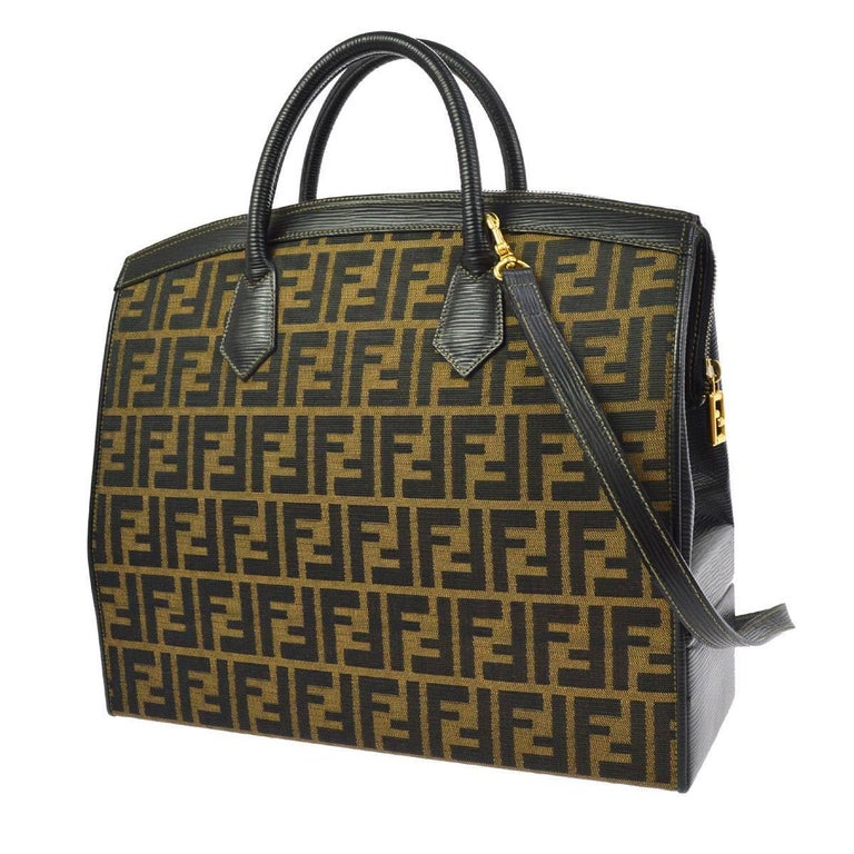 743a23a9be5d Fendi Monogram Canvas Top Handle Satchel Travel Vanity Carryall Shoulder Bag  For Sale