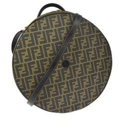 Fendi Monogram Canvas Travel Storage Large Satchel Hat Box with Shoulder Strap