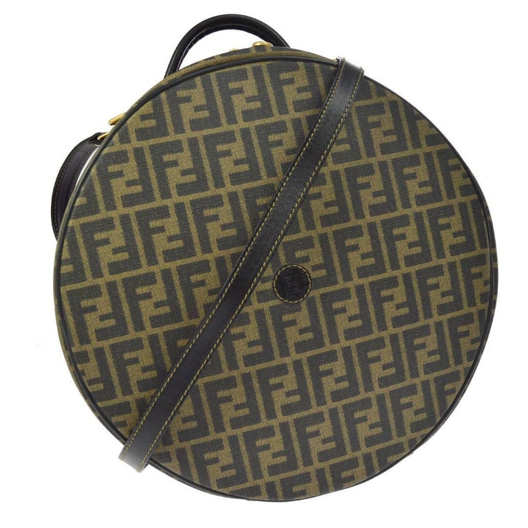 Fendi Monogram Canvas Travel Storage Large Satchel Hat Box with Shoulder Strap